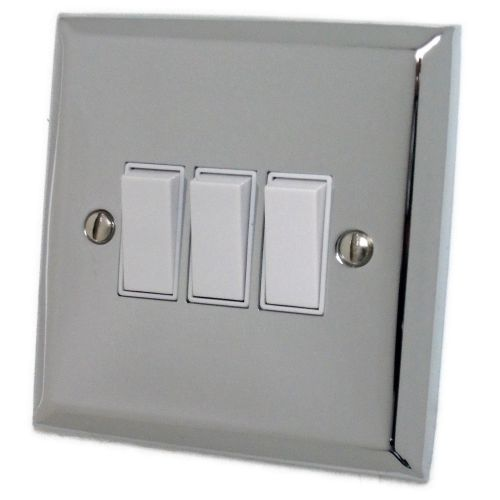 G&H SC3W Spectrum Plate Polished Chrome 3 Gang 1 or 2 Way Rocker Light Switch